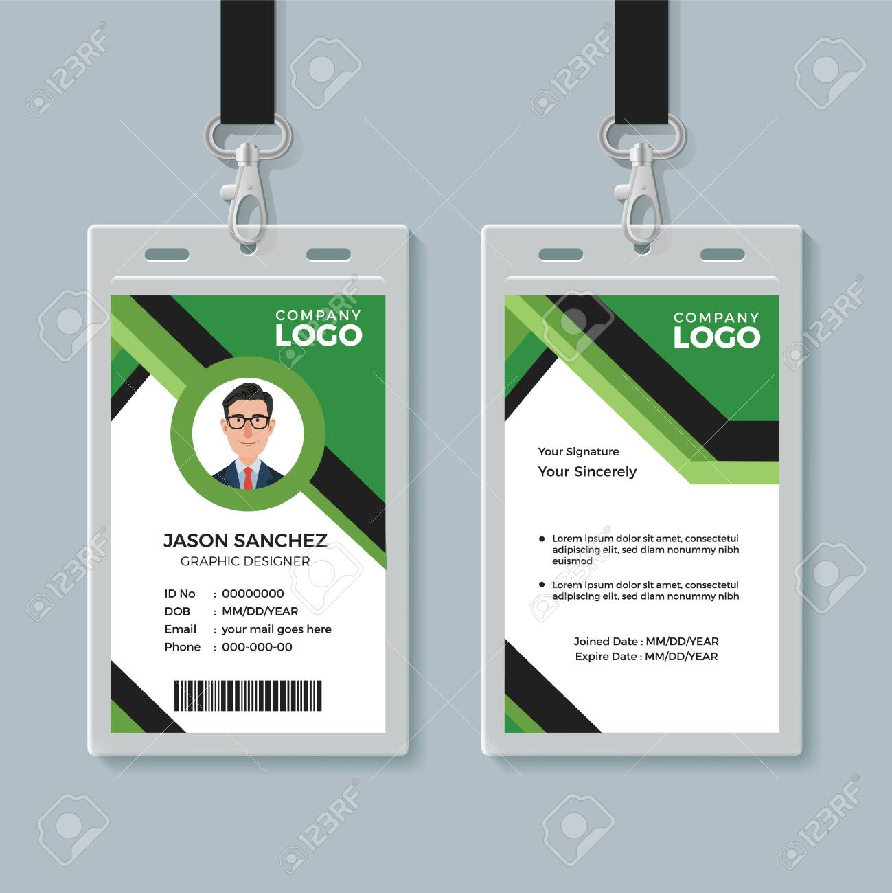 Simple Corporate Office Identity Card Design Template Royalty Free Inside Company Id Card Design Template
