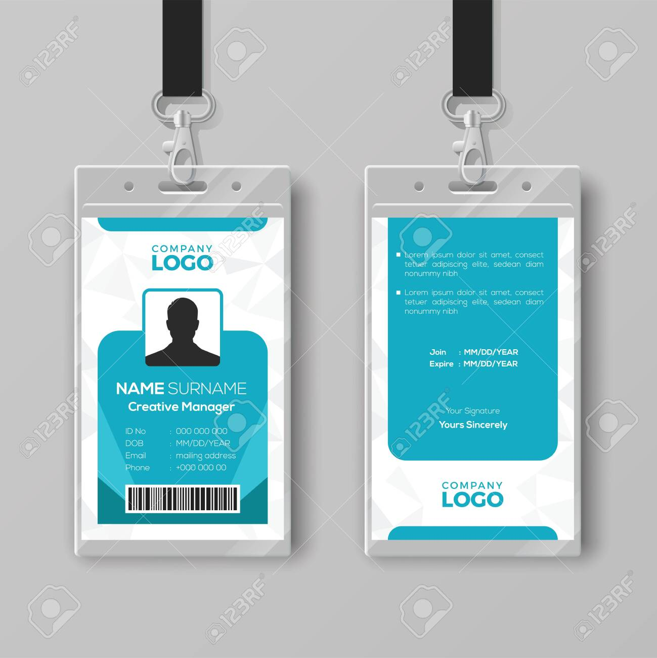Corporate ID Card Design Template Royalty Free Cliparts, Vectors In Company Id Card Design Template