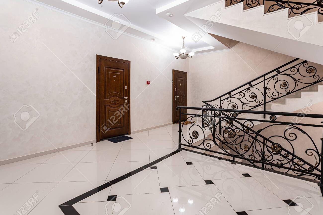 Spacious Entrance Hall With Light Walls And Marble Floor Front Stock Photo Picture And Royalty Free Image Image 146436282