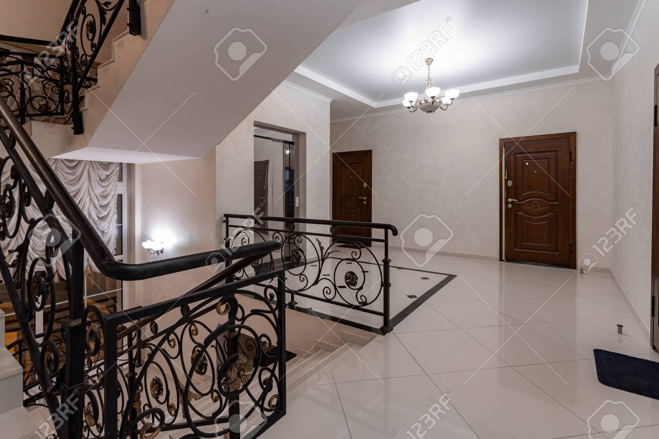 Spacious Entrance Hall With Light Walls And Marble Floor Front Stock Photo Picture And Royalty Free Image Image 145912279
