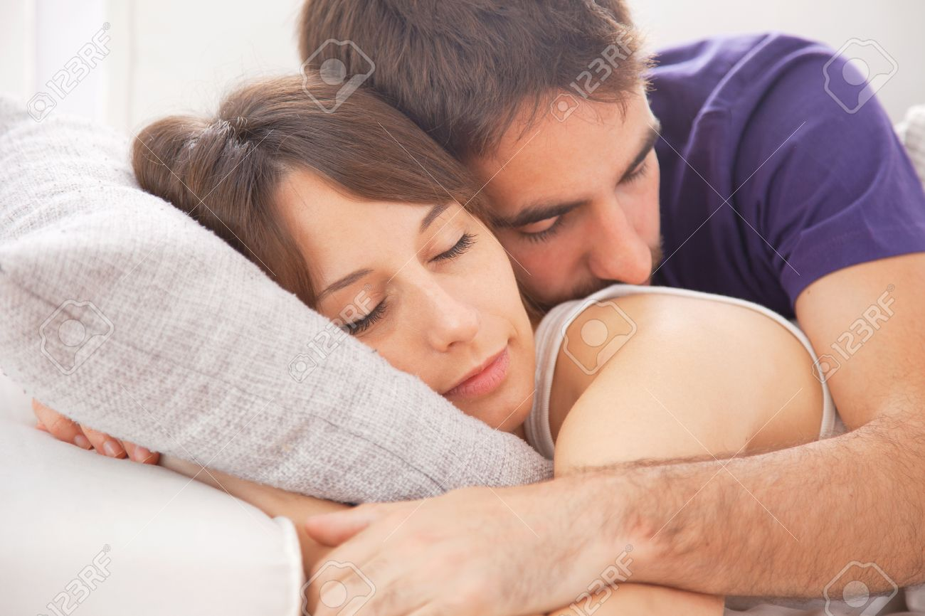 Lovely Couple Resting In Bedroom Stock Photo Picture And Royalty