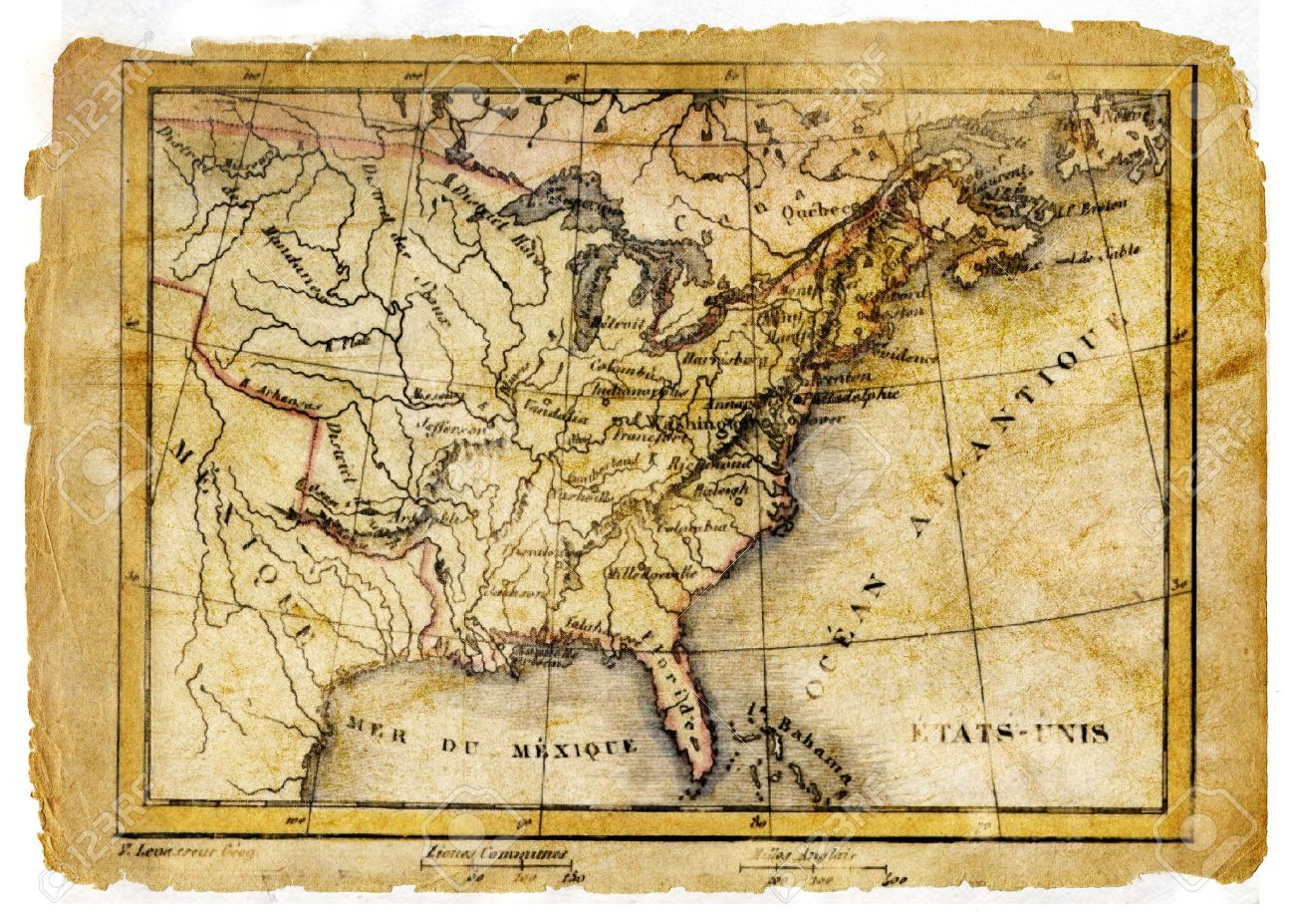 Ancient Map Of Usa Stock Po 5099764