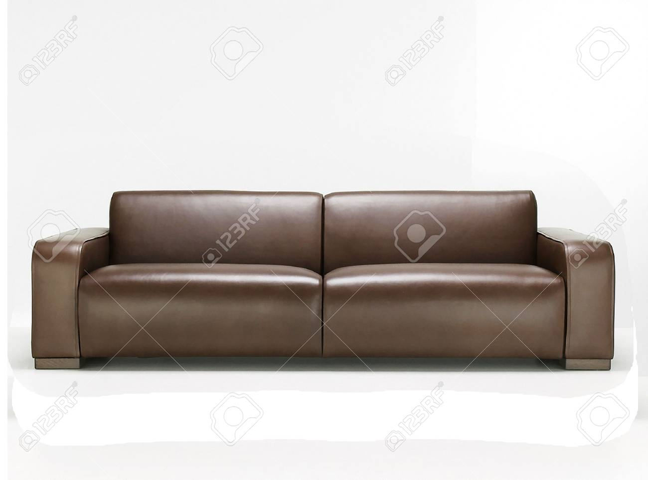 - Elegant Brown Leather Sofa Stock Photo, Picture And Royalty Free