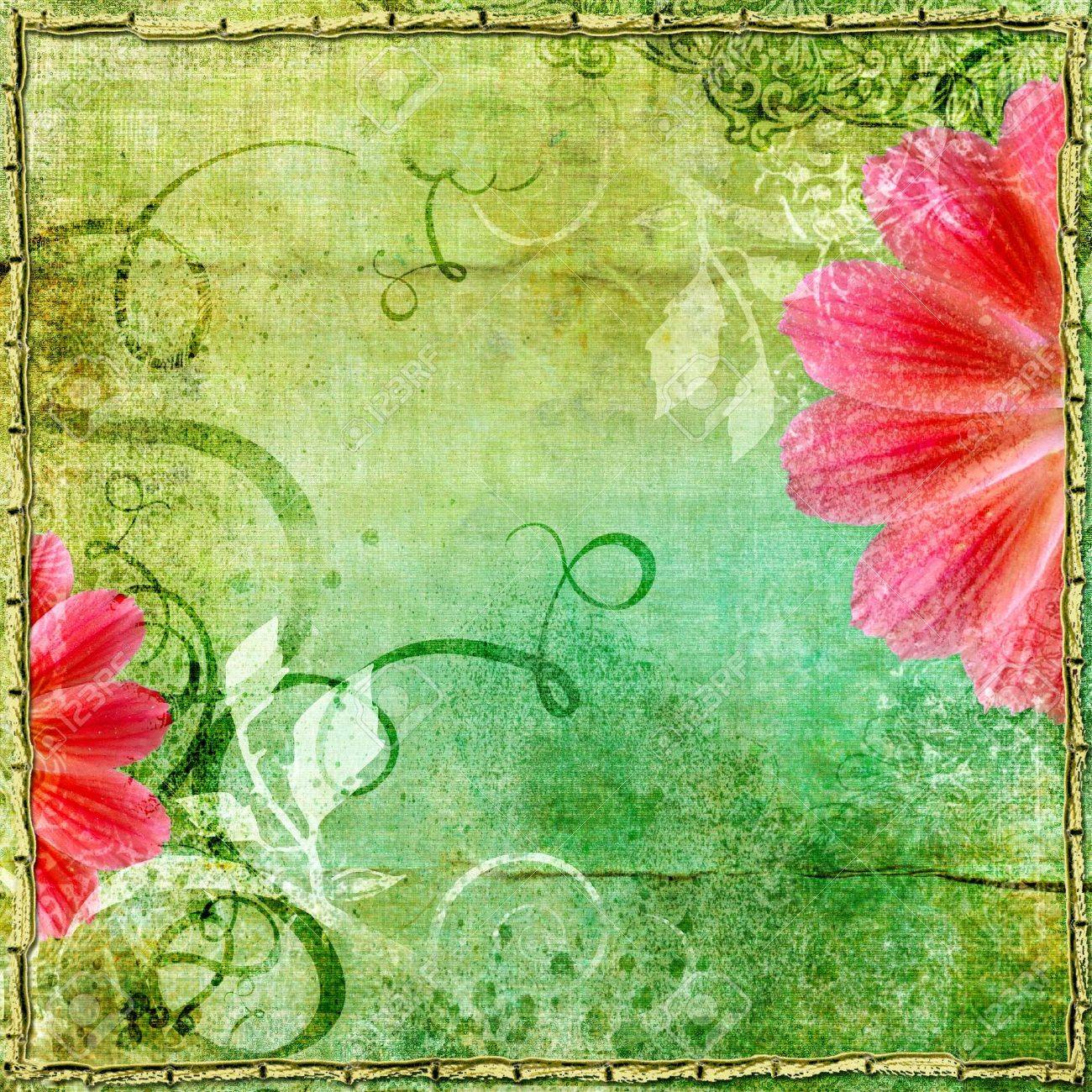 nice vintage paper with flower Stock Photo - 5127543