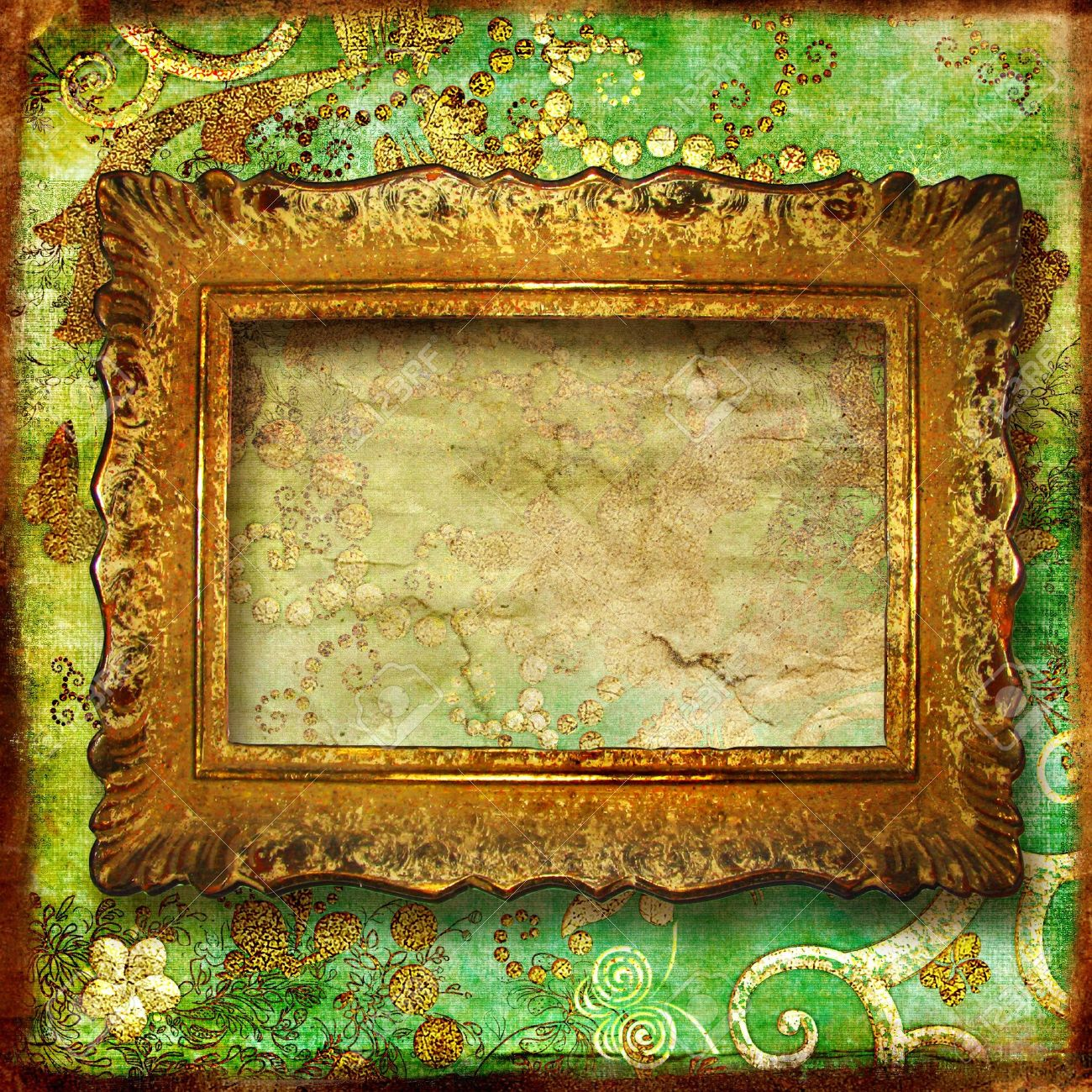 Vintage Green Background With Antique Frame Stock Photo, Picture And ...