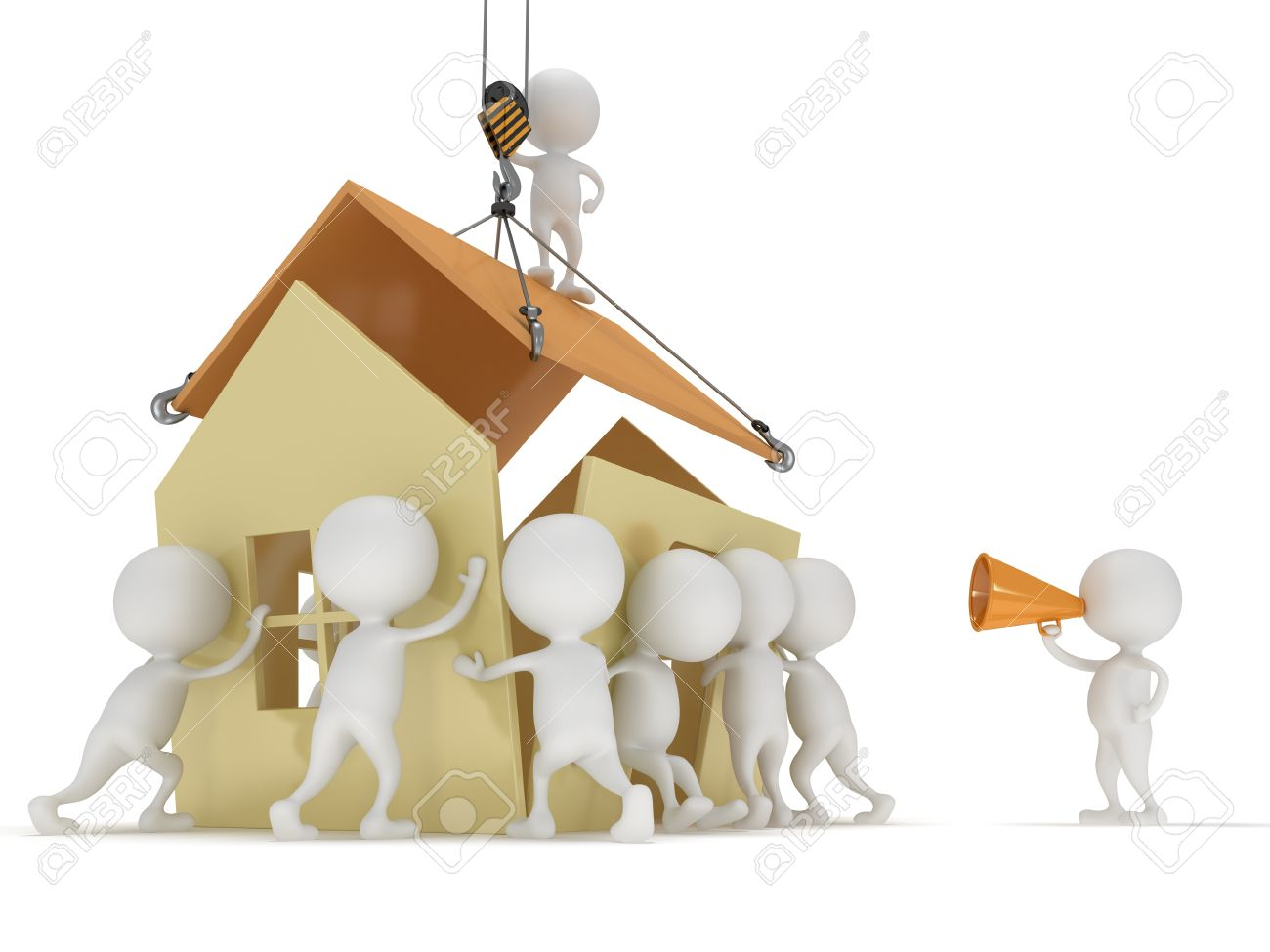 3d People Build A House Business Teamwork Assembling Real Estate Concept Stock Photo