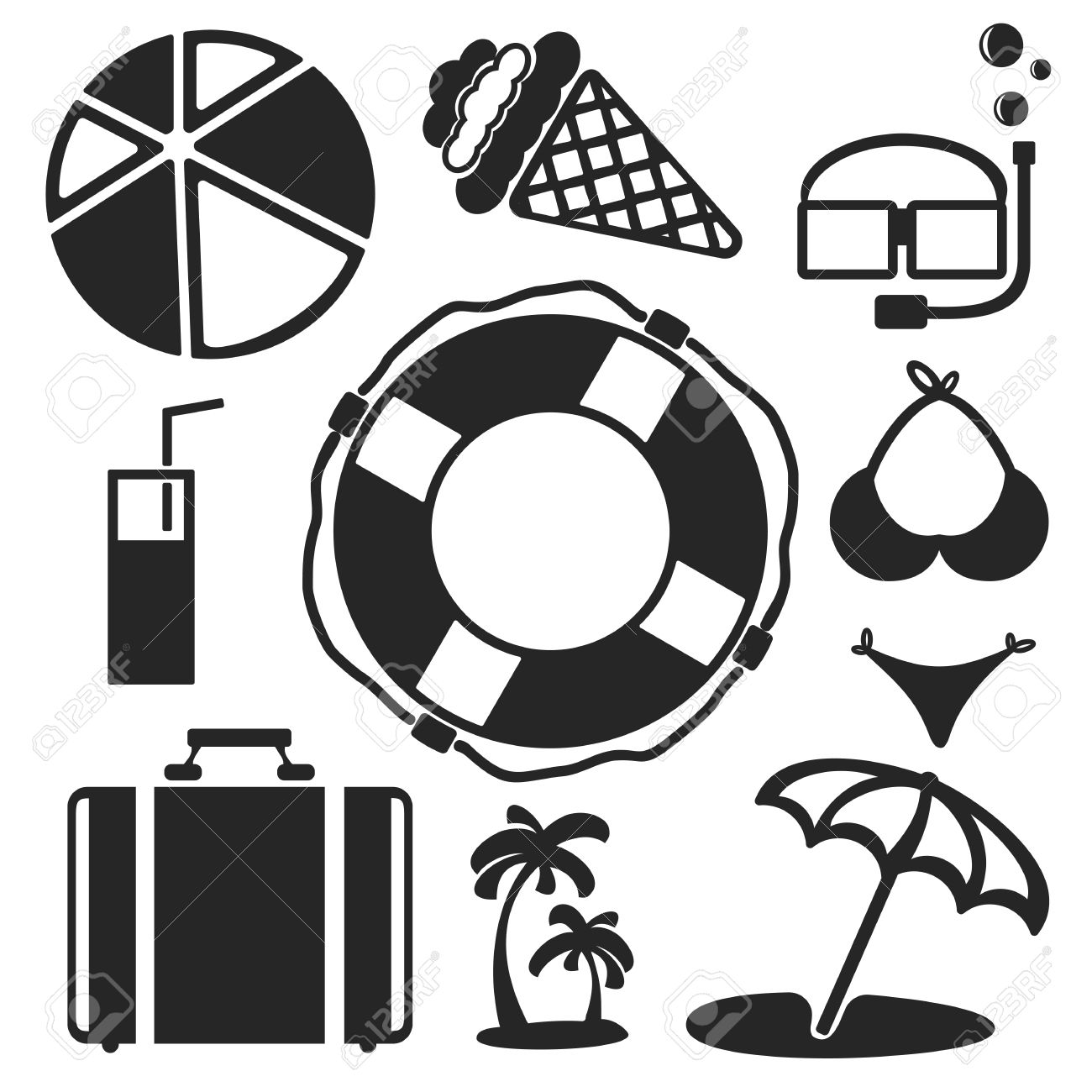 Set Of Summer And Travel Universal Web And Mobile Logo Icons ...