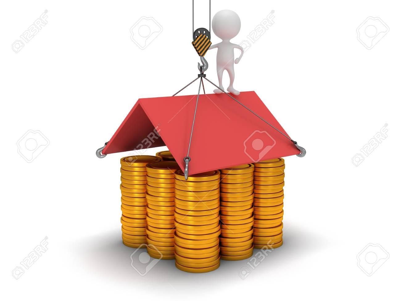 3d haus zu bauen mit goldmünzen. business, montage, immobilien