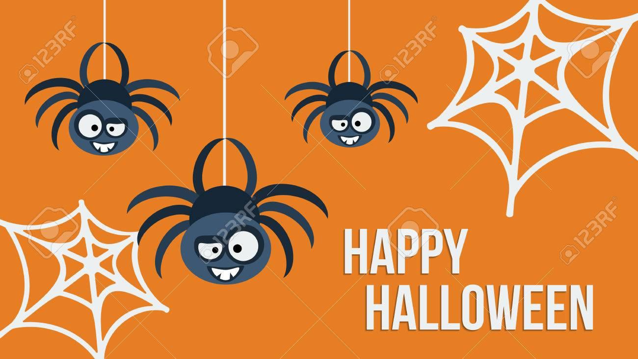 Trois Suspendus Araignees Mignons Happy Halloween Carton Dinvitation Template Design Vector Illustration