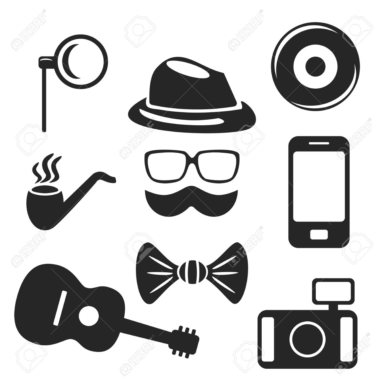 Hipster web and mobile icons set vector symbols of pipe camera vector symbols of pipe camera guitar etc biocorpaavc Images