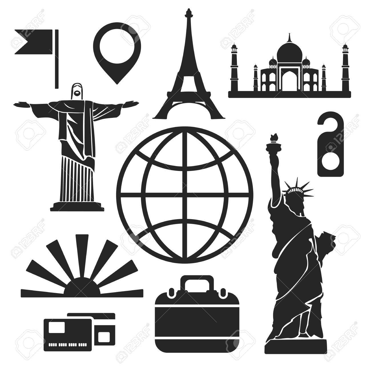 Travel Web And Mobile Icons Isolated On White Vector Symbols