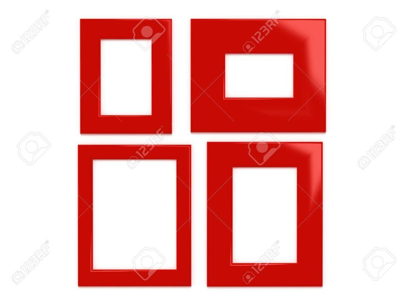 Vier Rote Bilderrahmen Auf Die Weiße Wand - 3d Render Lizenzfreie ...