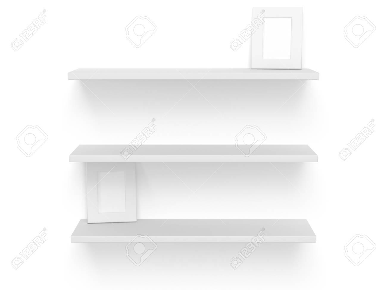 3D Drei Leeren Leere Regale Mit Fotorahmen Auf Weiß. Vorlage ...