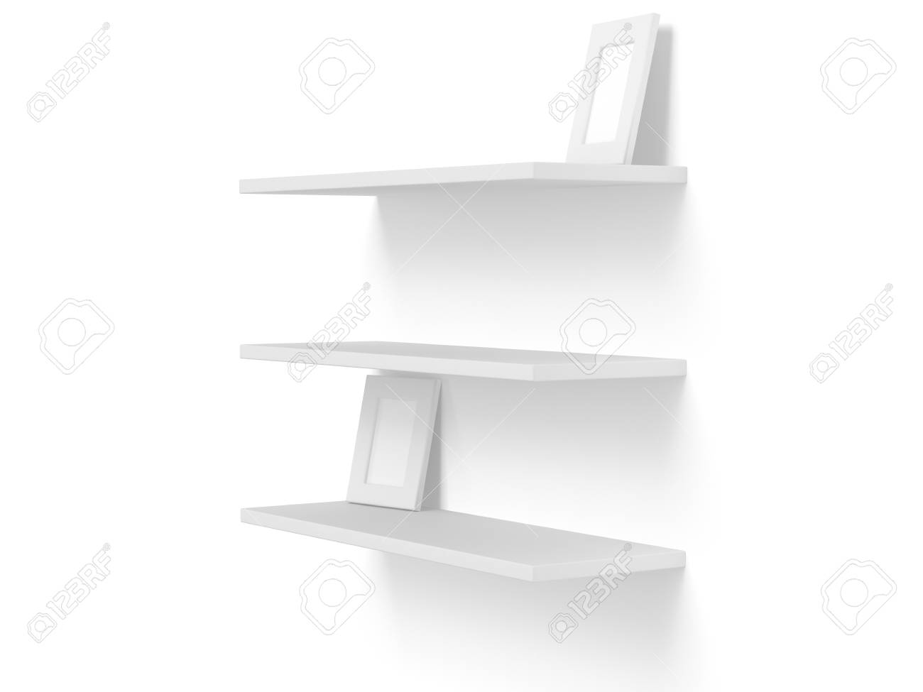 3D Three Empty Blank Shelves With Photo Frames On White. Template ...