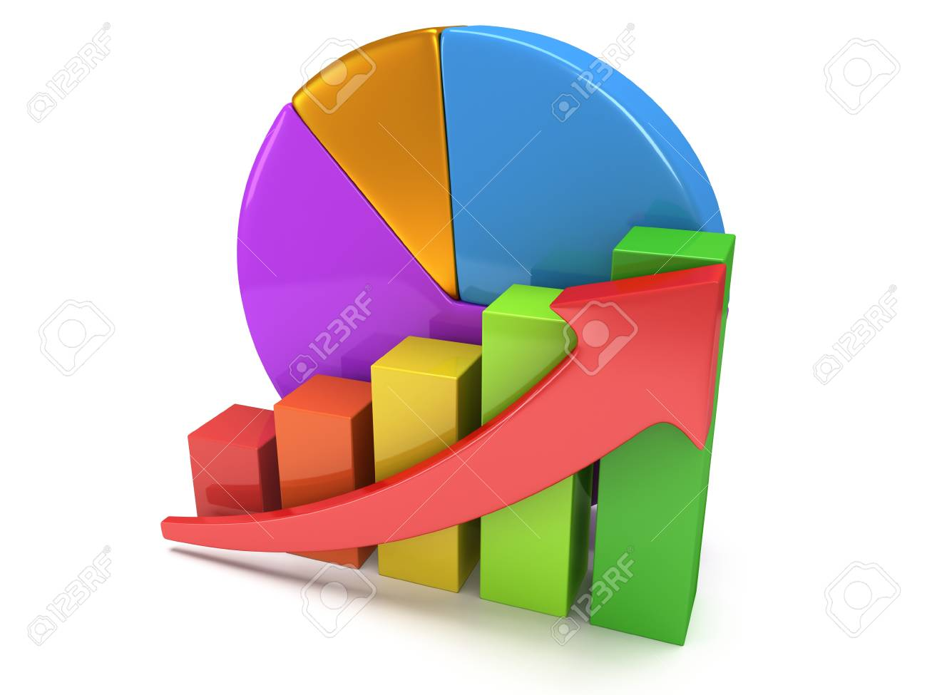 3d Colored Bar Graph With Red Arrow Growing Up And Pie Chart Stock