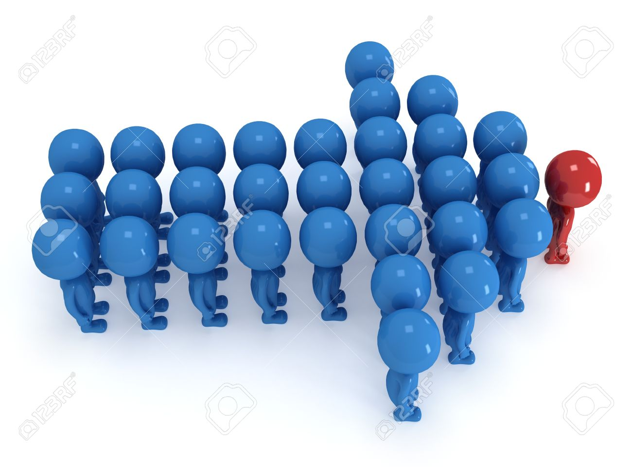 group of stylized blue people red teamleader stand on white group of stylized blue people red teamleader stand on white in arrow form isolated
