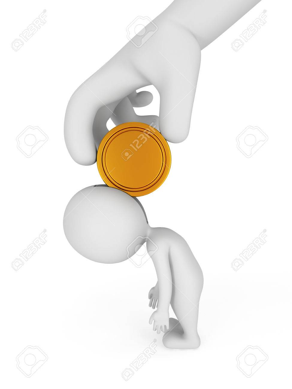 tired d man and boss hand coin employee and employer stock photo tired 3d man and boss hand coin employee and employer relations business job salary concept