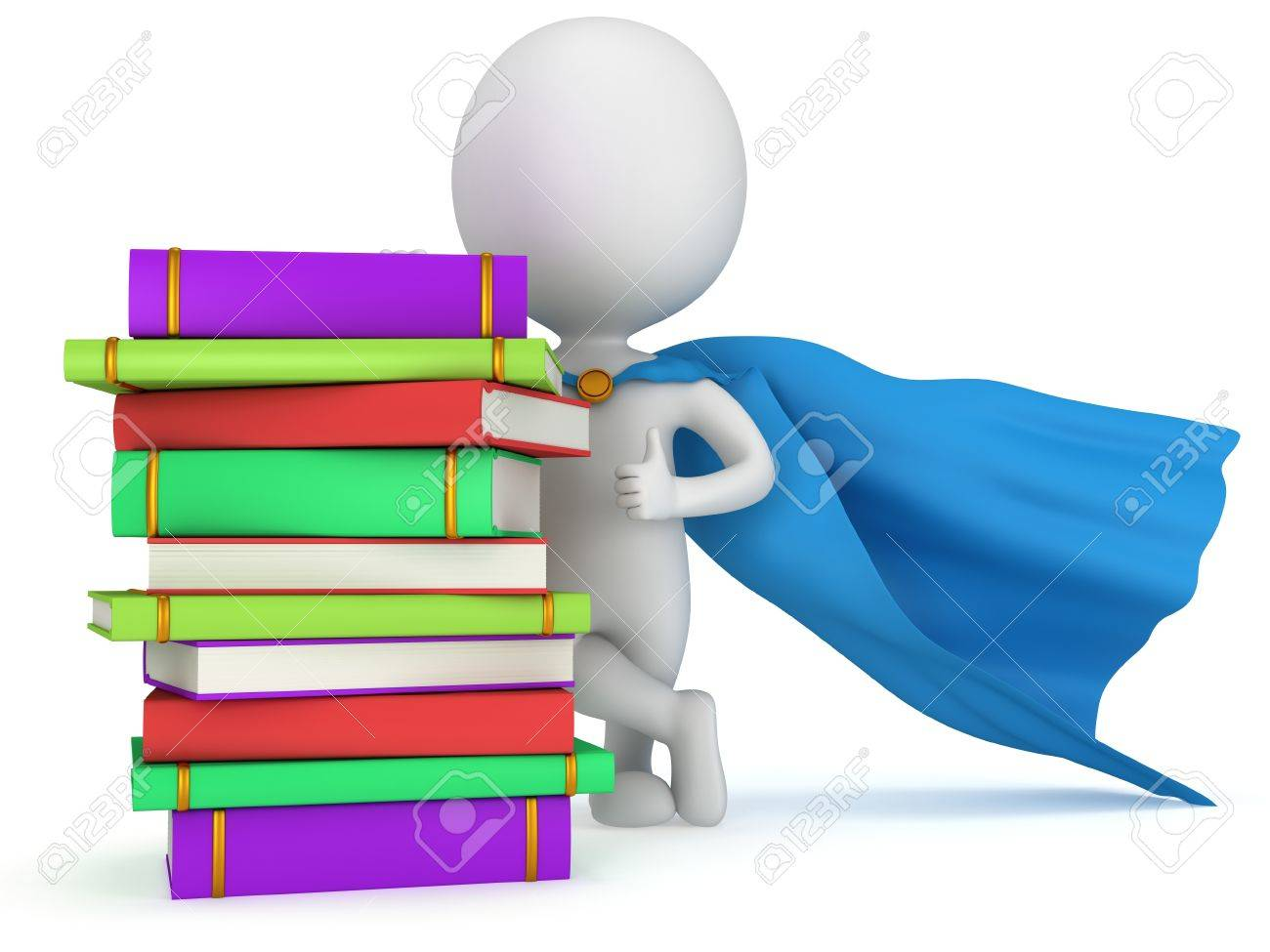 Maestro Superhéroe Brave Con Capa Azul Y Libros De Colores. Aislados ...