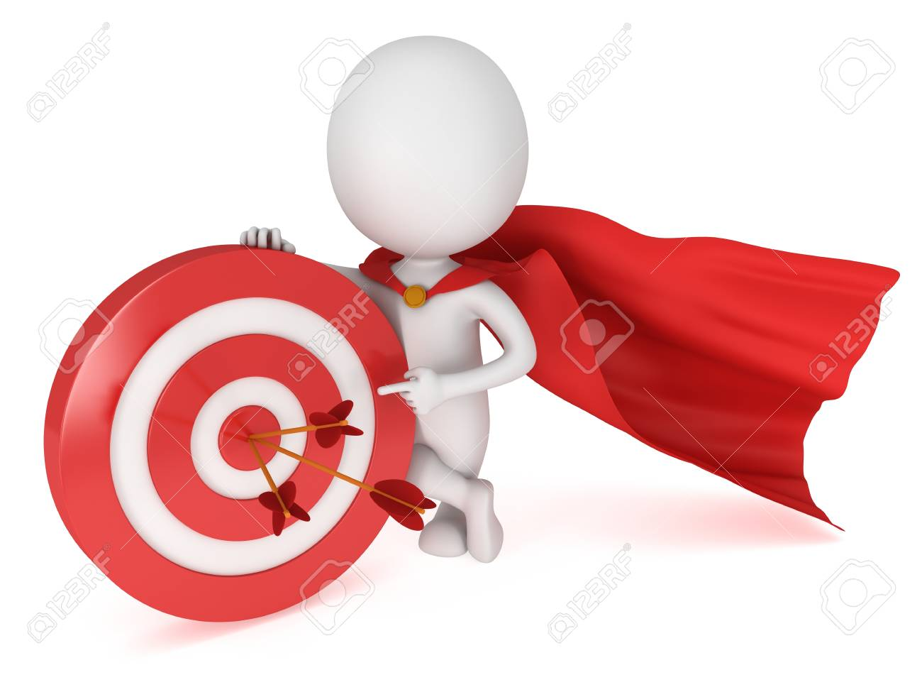 3d man brave superhero with red cloak stand near red aim target