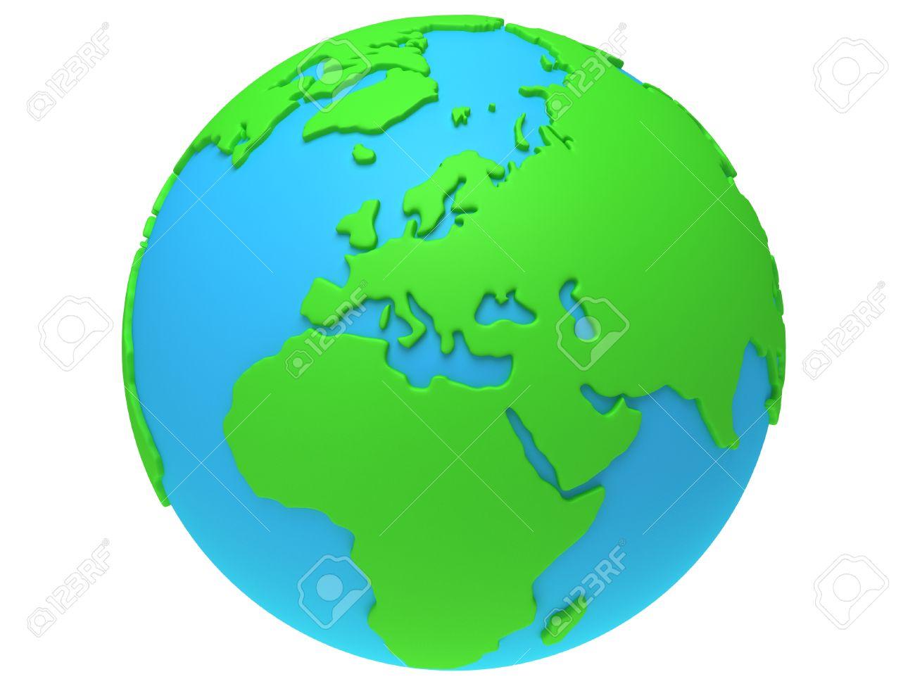Wunderbar Weltkugel 3d Dekoration Von En Erde . übertragen. Europa Ansicht. Auf