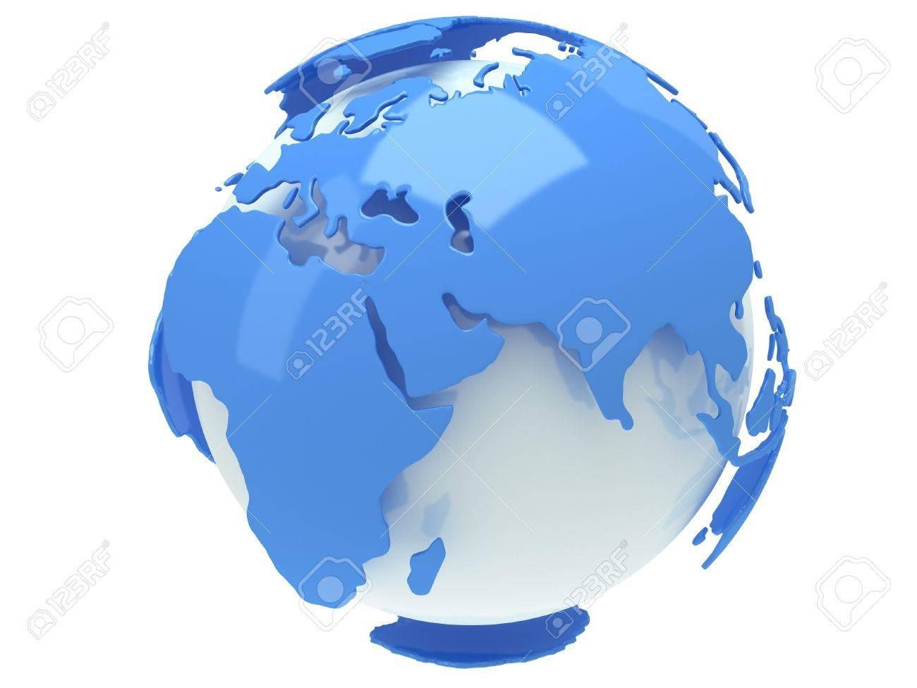 Wunderschön Weltkugel 3d Ideen Von En Erde 3d-darstellung. Indien Blick Auf Weißem