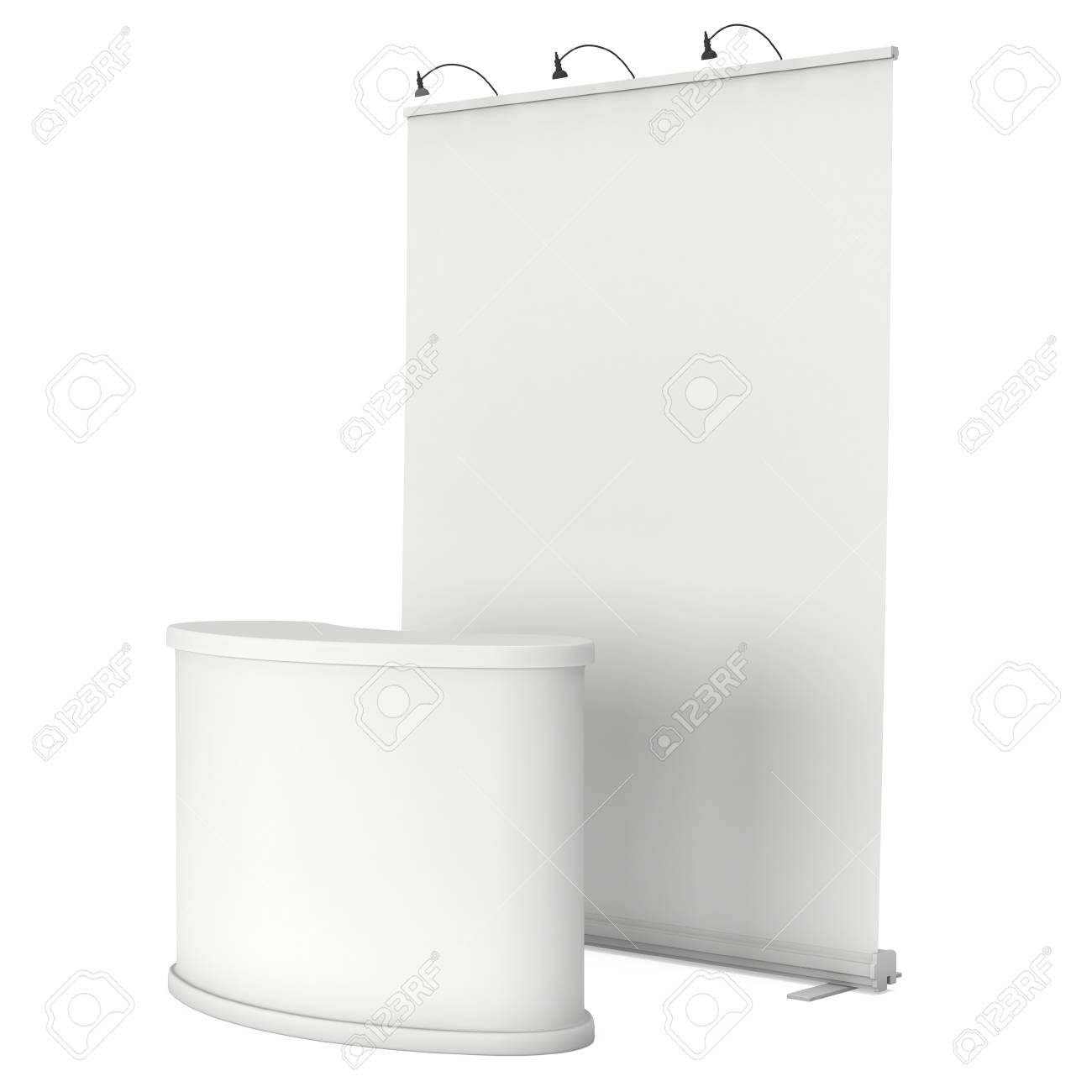 Trade Show Booth White And Blank 3d Render Isolated On White