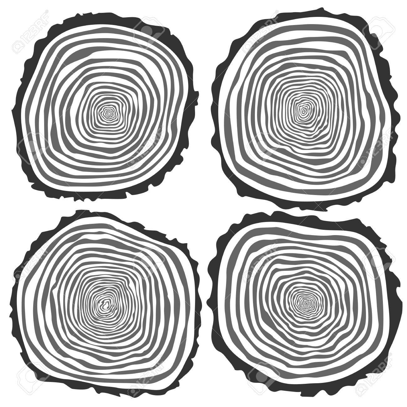 Set of four vector tree rings background and saw cut tree trunk. Conceptual graphics. Isolated on white - 52676490