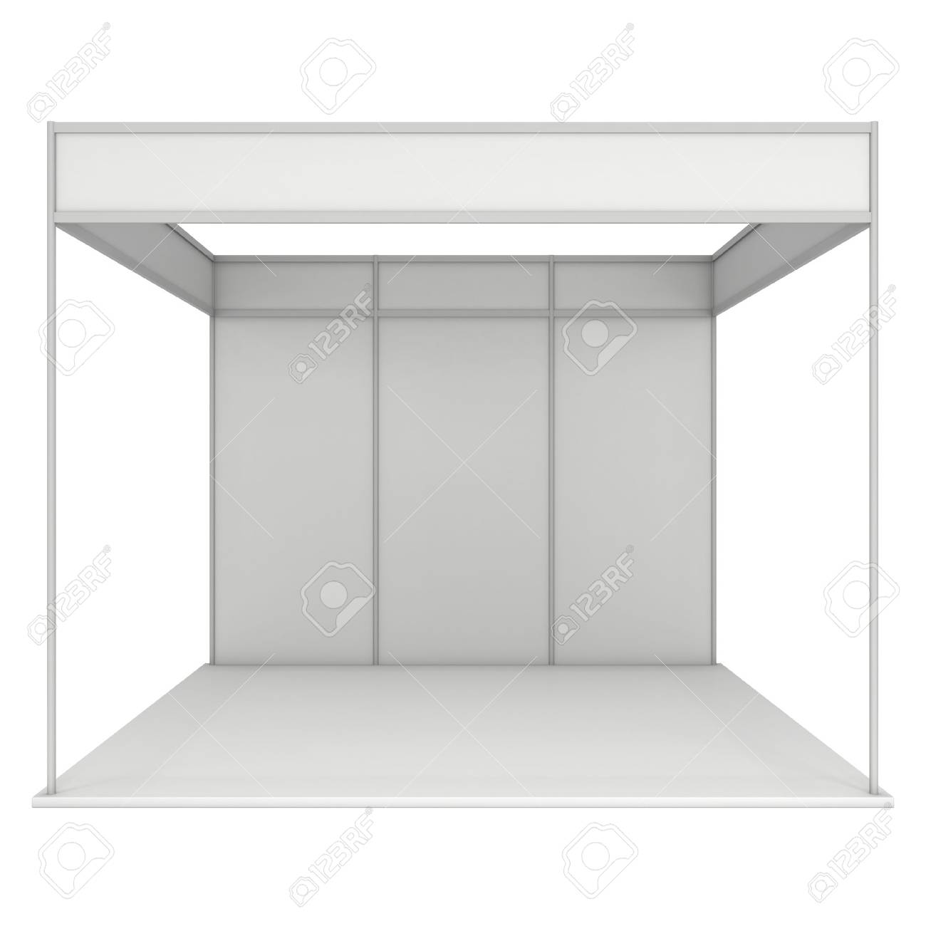 Trade Show Booth White And Blank Blank Indoor Exhibition With