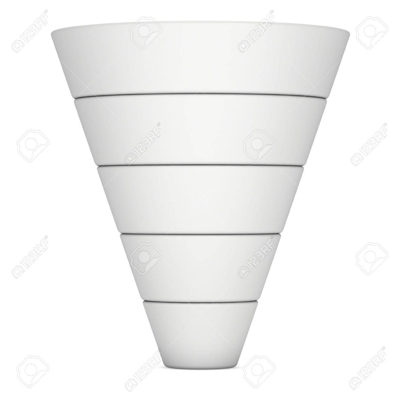 marketing funnel sales symbol 3d render isolated on white