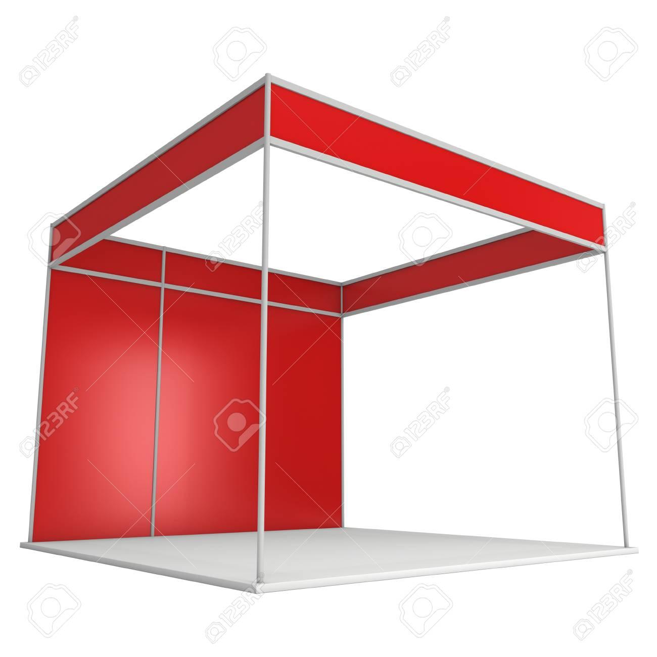 Stand De Salon Rouge Et Blanc. Exposition Intérieure Vide Avec Des ...