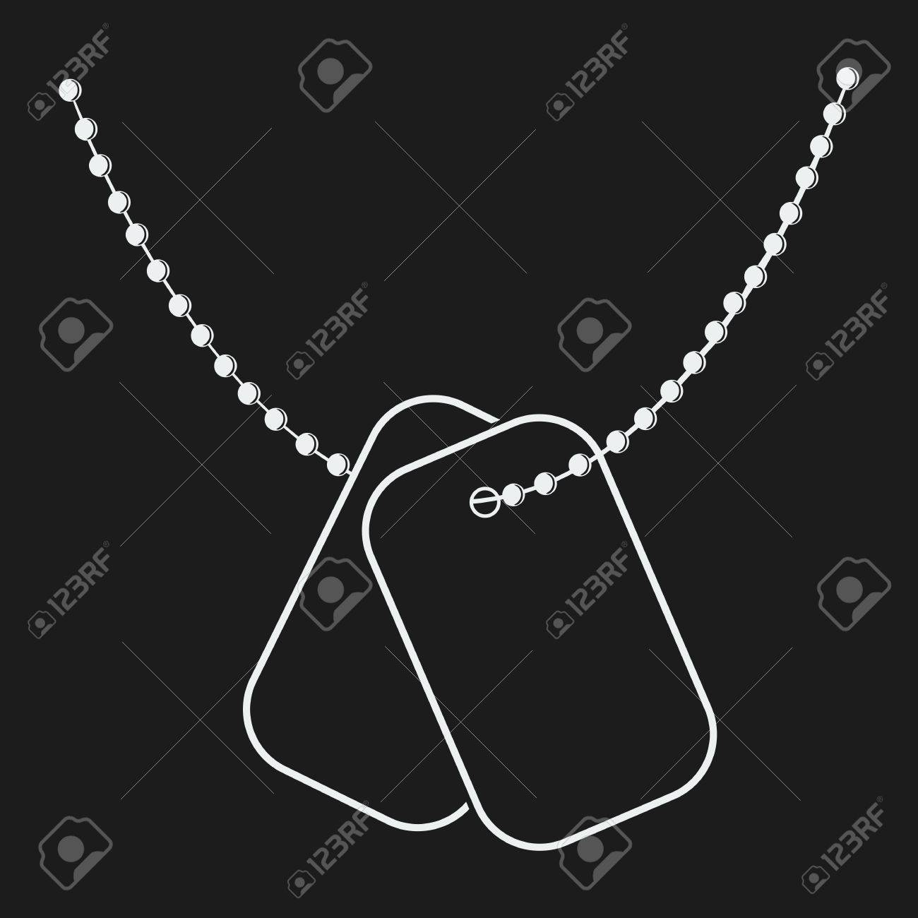 Dog Tags With Chain Icon Isolated On Black Background Vector
