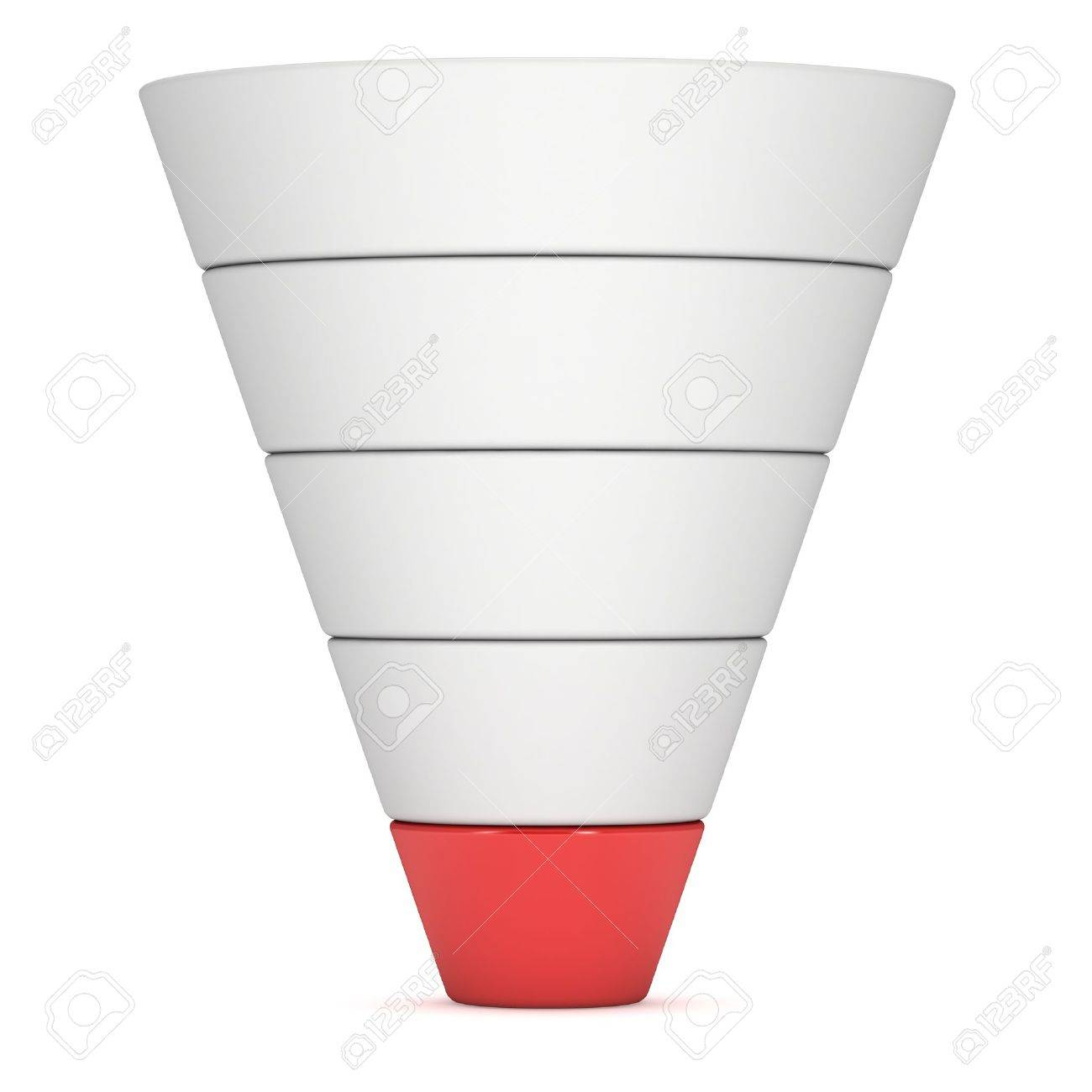 marketing funnel sales diagram 3d render isolated on white