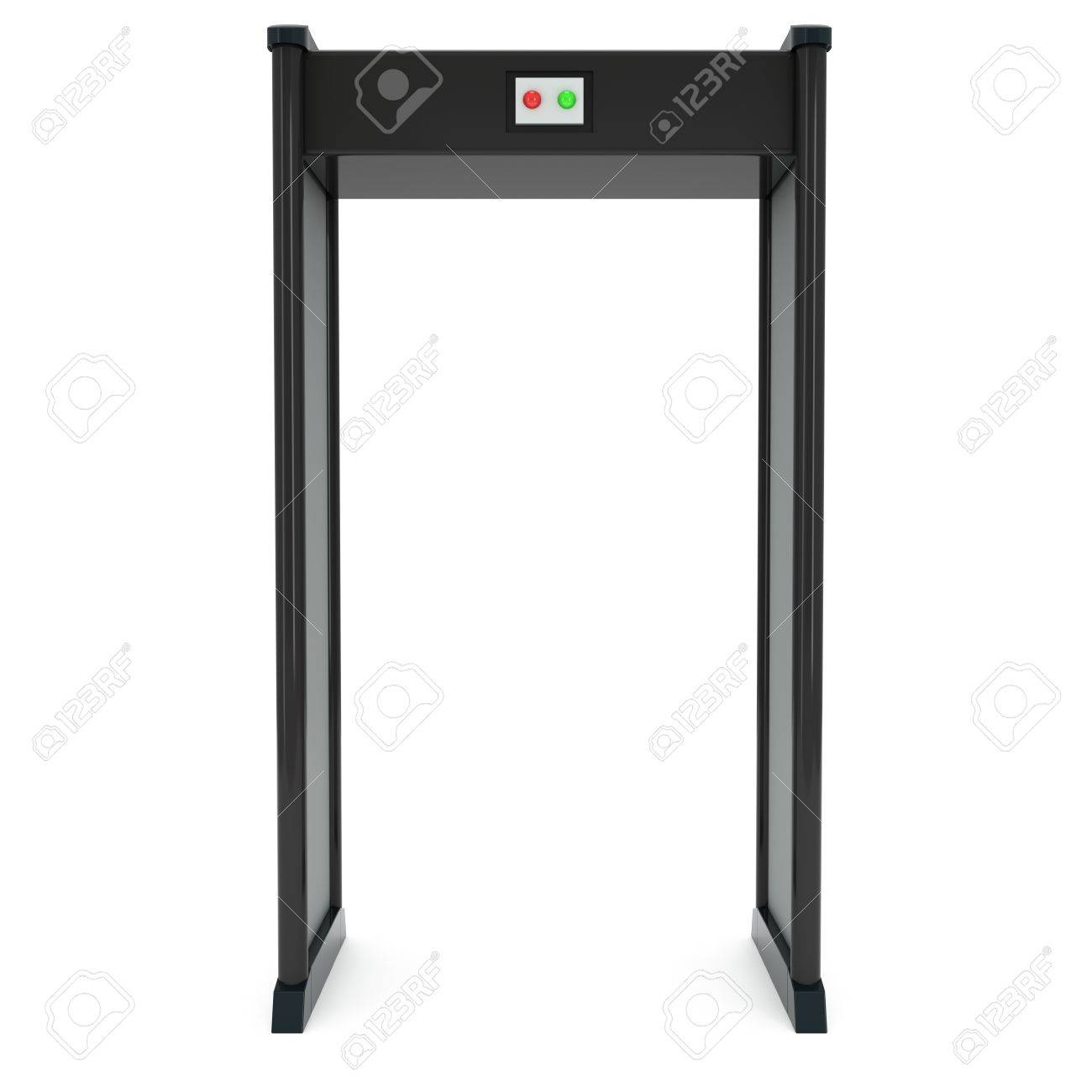 Metal detector scanner  3D render isolated on white  Airport