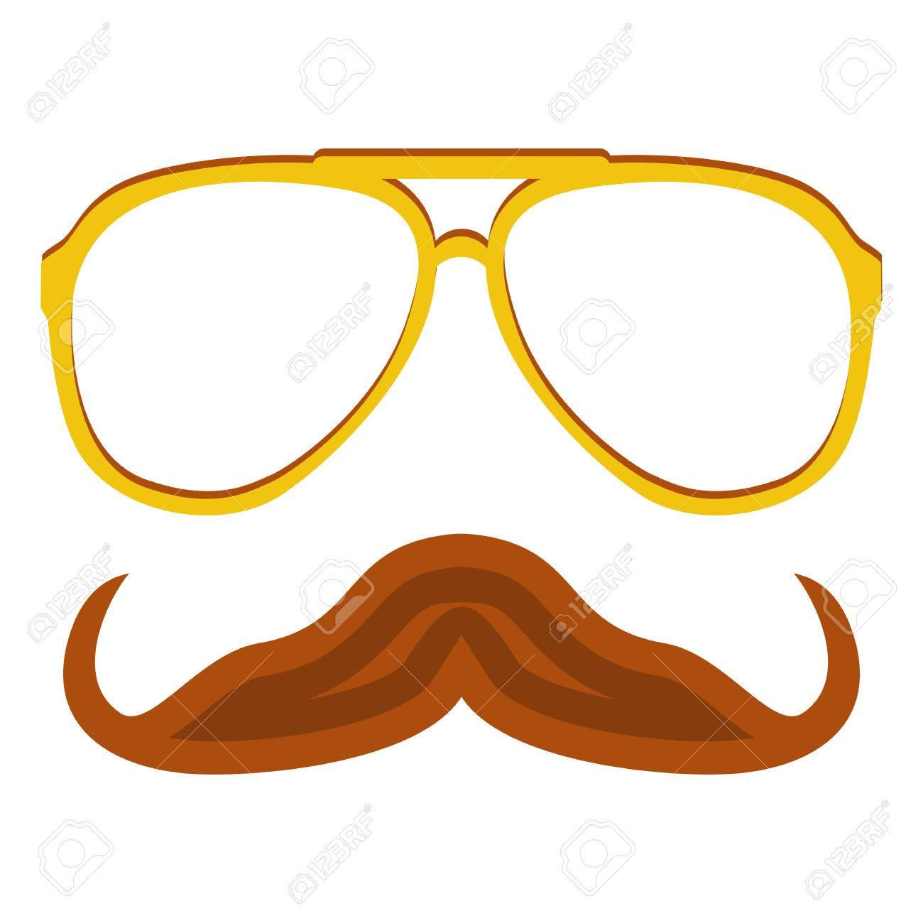 Hipster Nerd Brille Und Elegante Schnurrbart Auf Weißem Isoliert ...