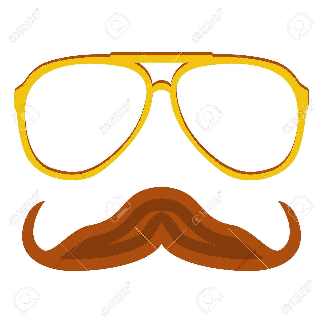 Hipster Nerd Glasses And Stylish Mustache Isolated On White Web