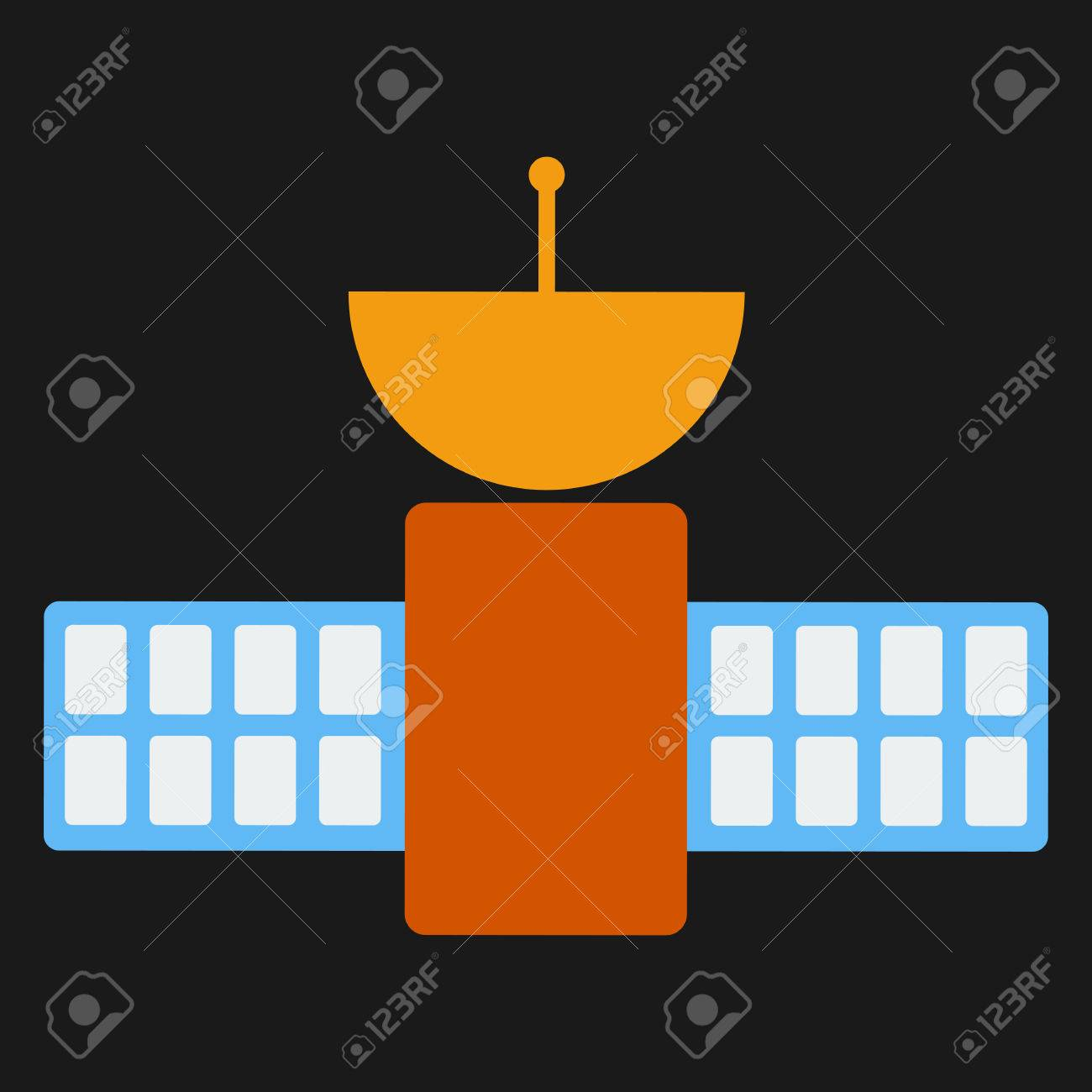 Space Satellite Communication Dish Radio Signal Network On Black