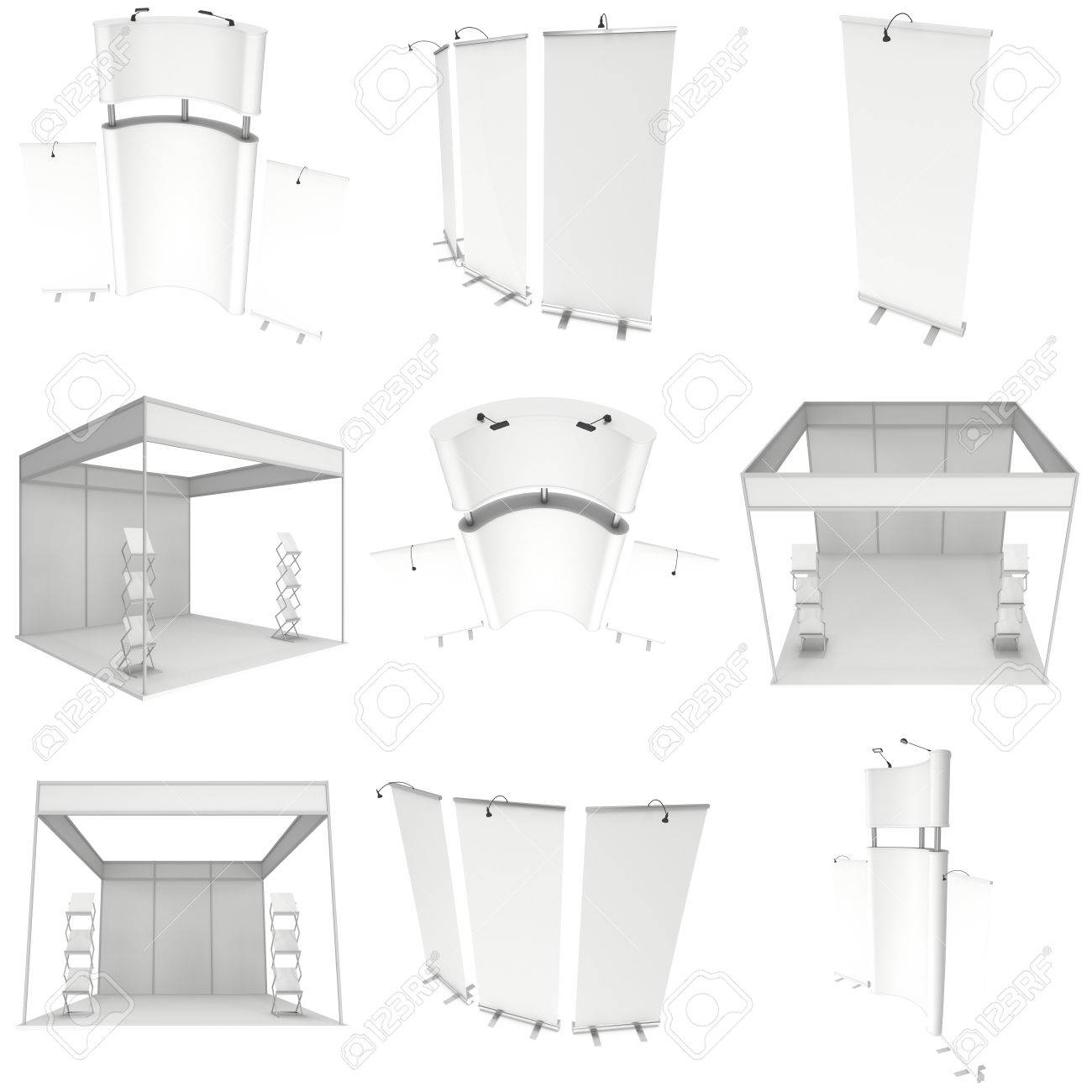 Trade Show Booth Set Roll Up Pop Up With Reception Desk 3d