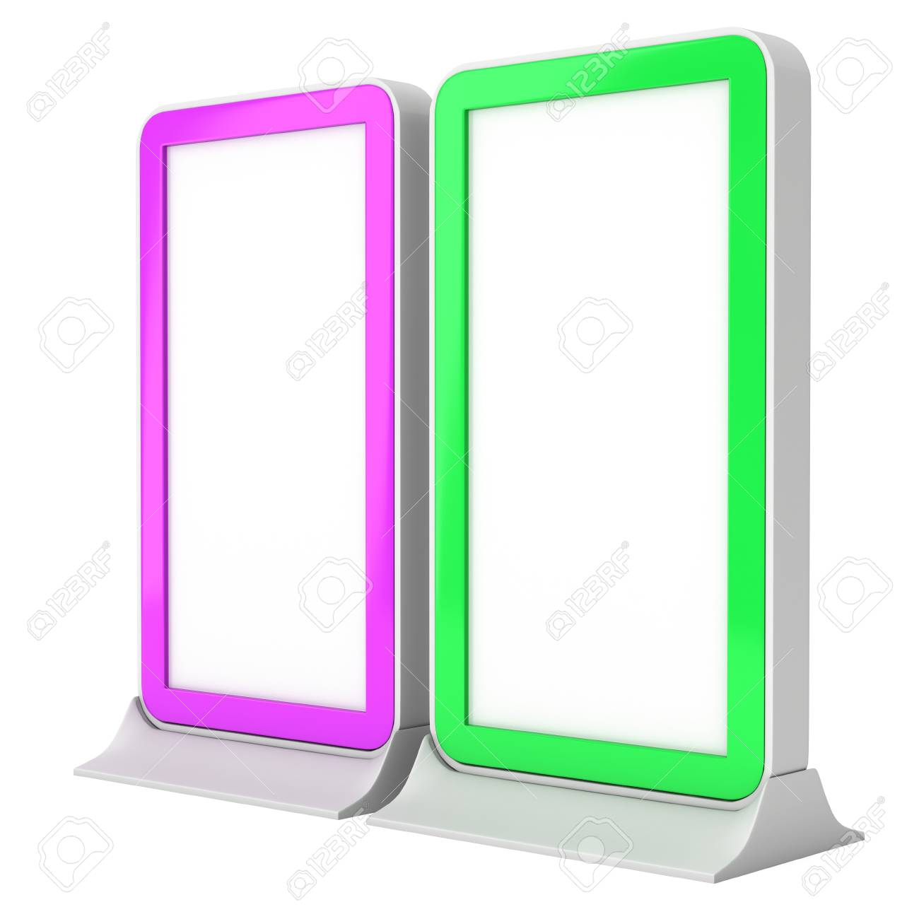 LCD Screen Stand purple and green  Blank Trade Show Booth  3d