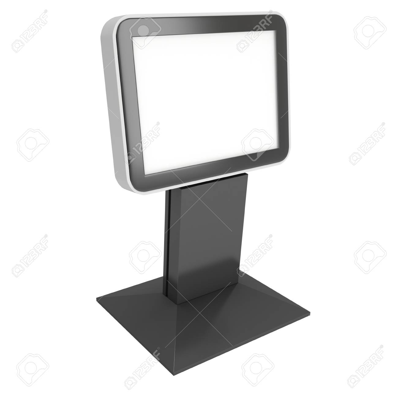 Lcd Screen Stand Blank Trade Show Booth 3d Render Of Lcd Tv