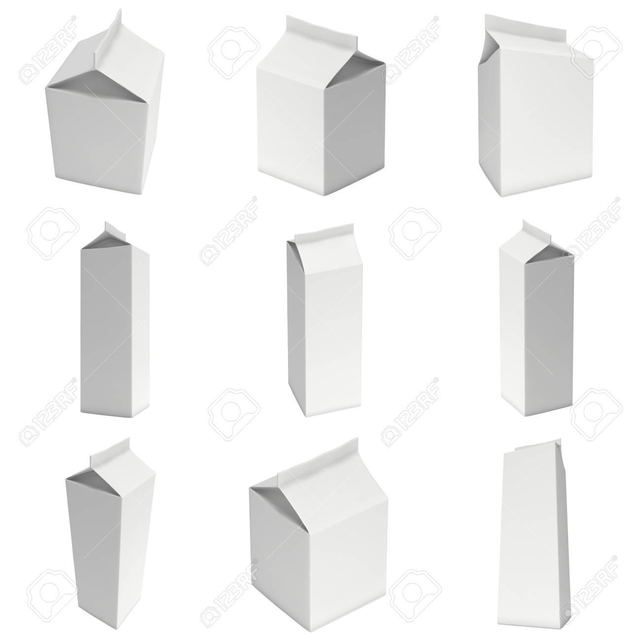 Cajas De Leche O Jugo Con Tapa Maqueta Del Paquete Al Por Menor 3d Hacer Ilustración Aislado En Blanco