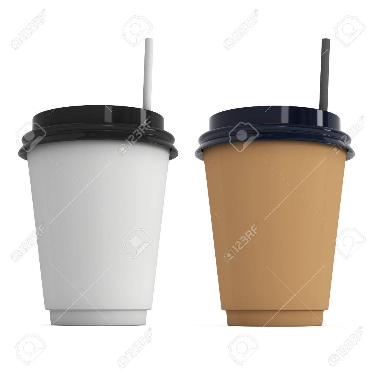 3d De Capuchon Jetables Tasses Fond PapierMug En Avec À Papier Paille Blanc Isolé PlastiqueRendu Café Sur wPkOXn08