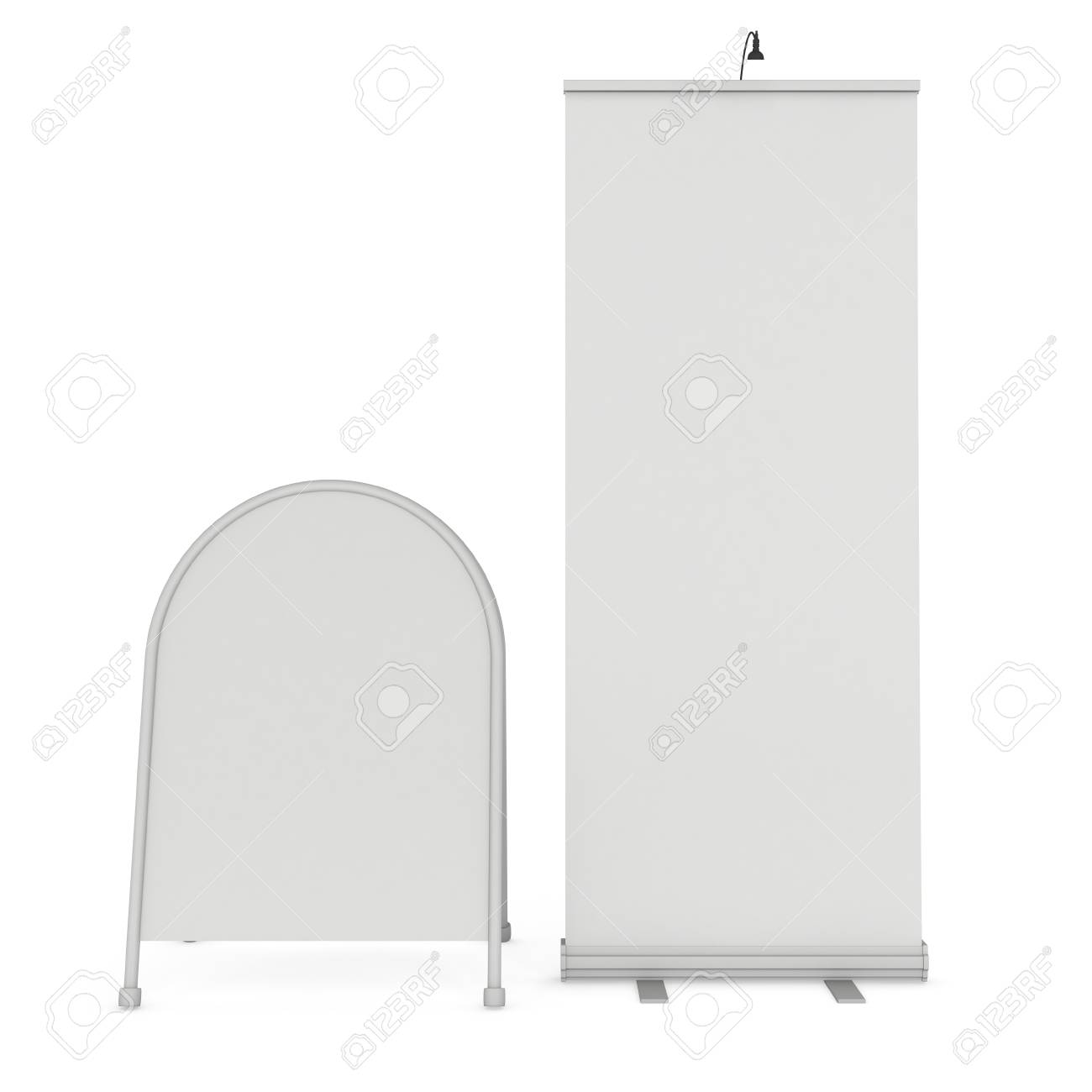 Blank Roll Up Expo Banner Stand And Sandwich Board. Trade Show ...