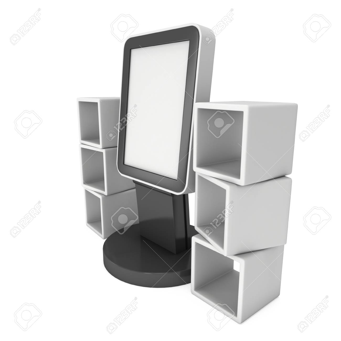 lcd display stand and product display boxes blank trade show booth 3d render isolated
