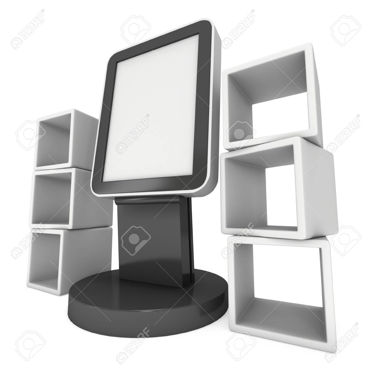 Trade Display Stands : Lcd display stand and product display boxes. blank trade show