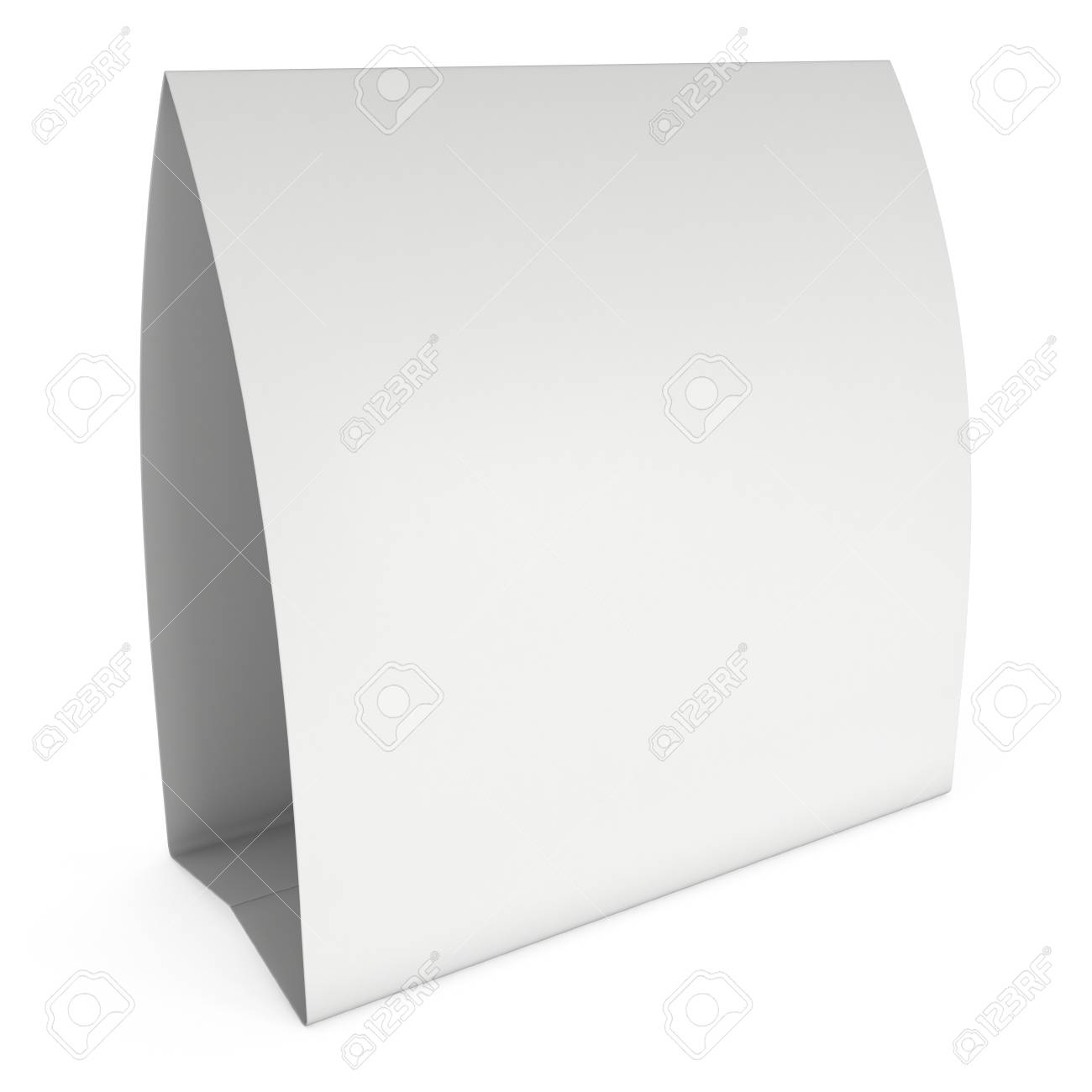 photograph about Printable Tent Card called Blank paper tent card. 3d render.