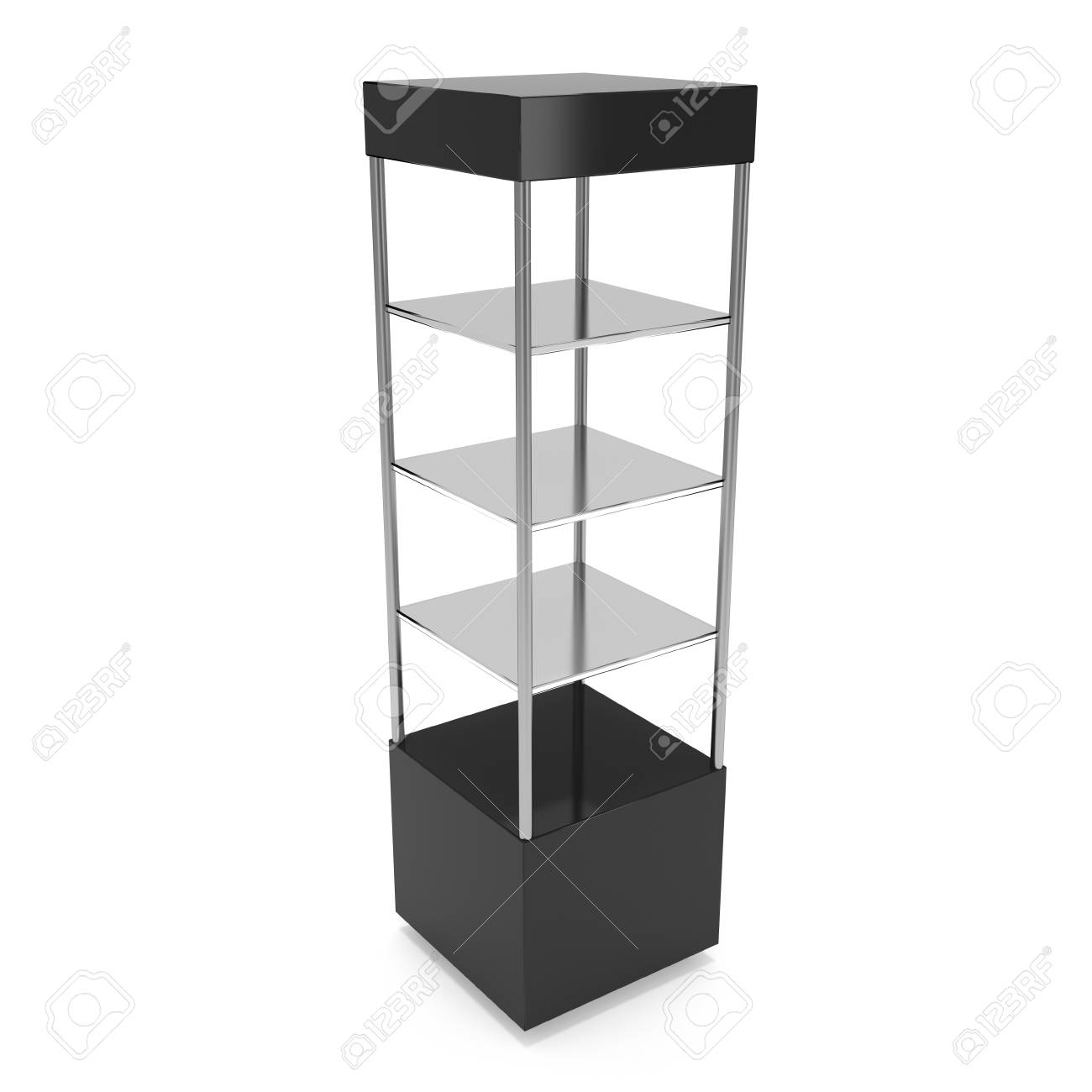 Trade Show Booth With Shelves : Empty showcase with glass shelves for exhibit d render
