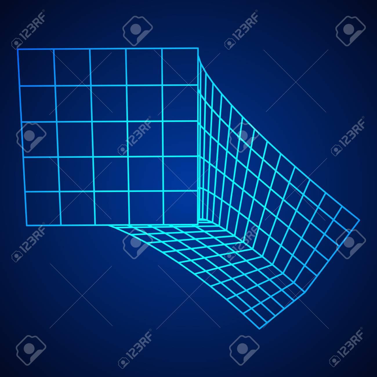 Caja De Malla De Malla Metálica Estructura De Conexión Concepto De Visualización De Datos Digitales Ilustración Vectorial