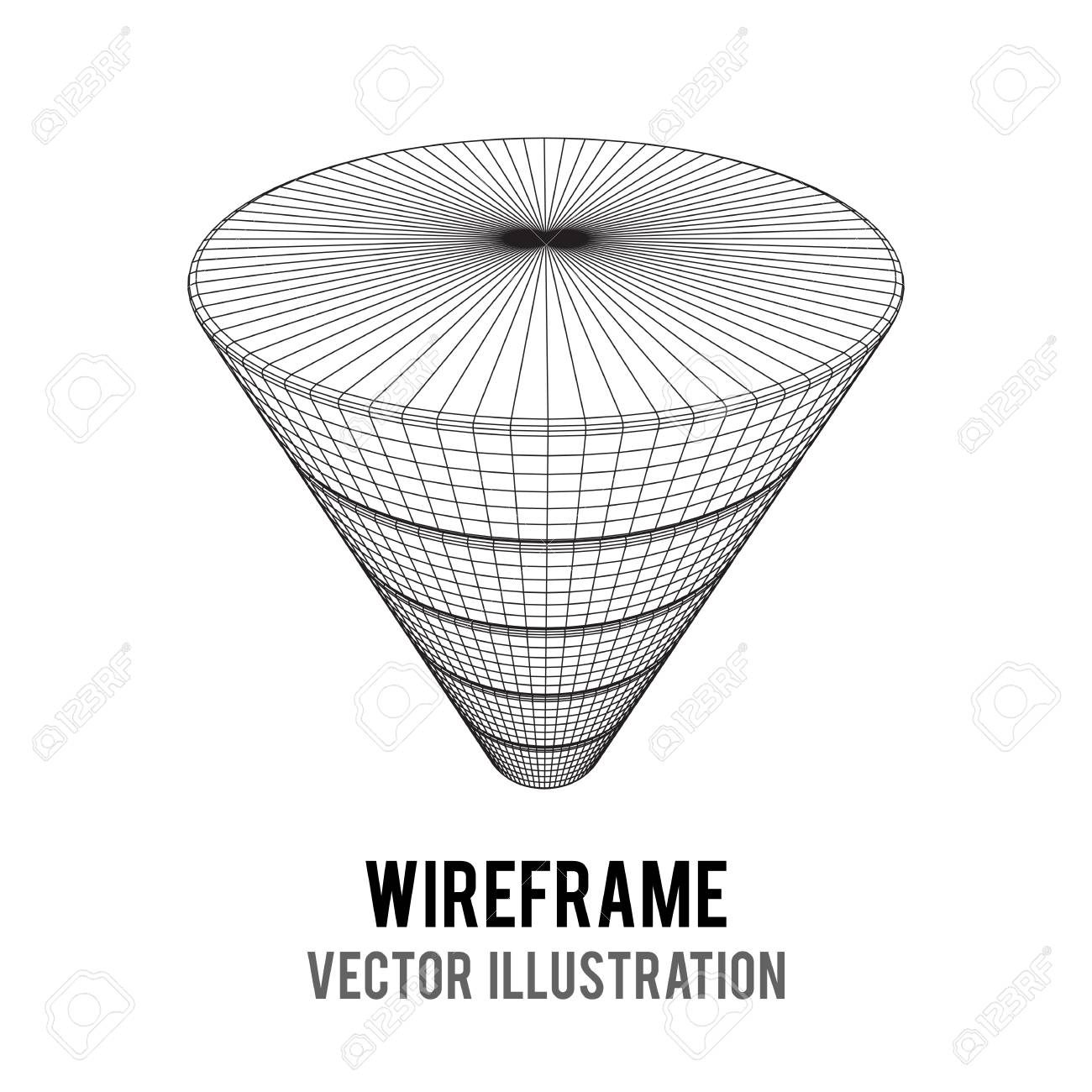 marketing conversion funnel sales diagram  wire-frame poly mesh vector  illustration  concept of
