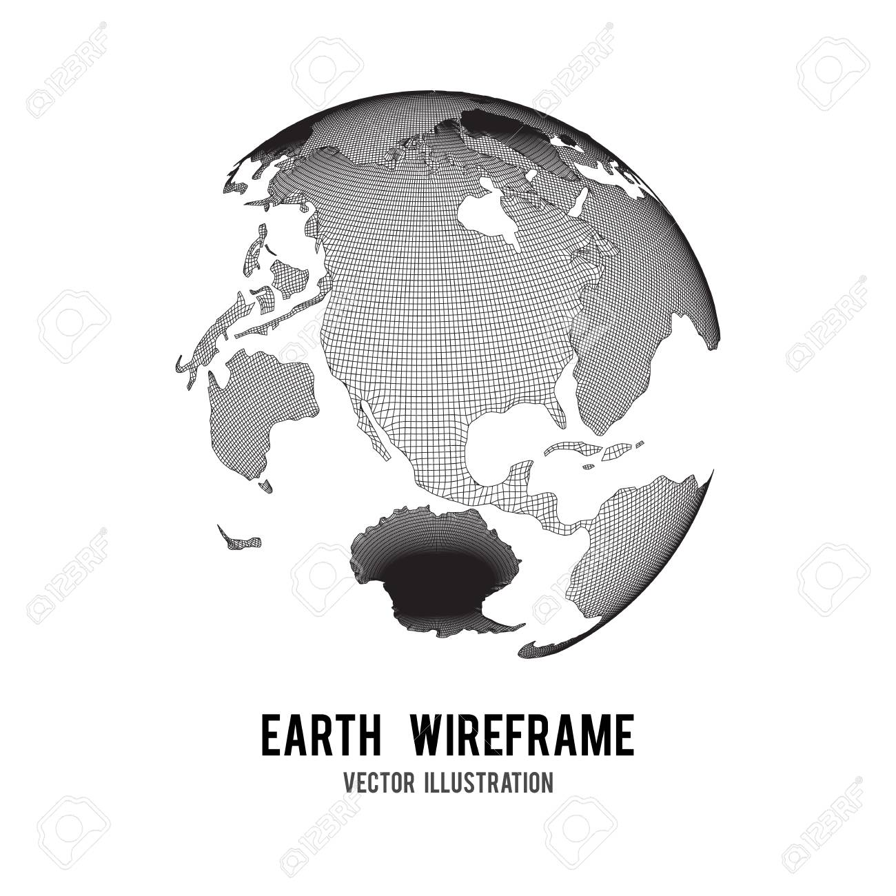 Wire Frame Planet Earth Globe Royalty Free Cliparts, Vectors, And ...