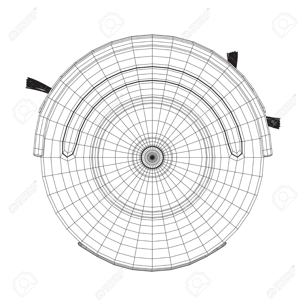 robot vacuum cleaner wire frame low poly mesh vector illustration  smart  cleaning technology concept
